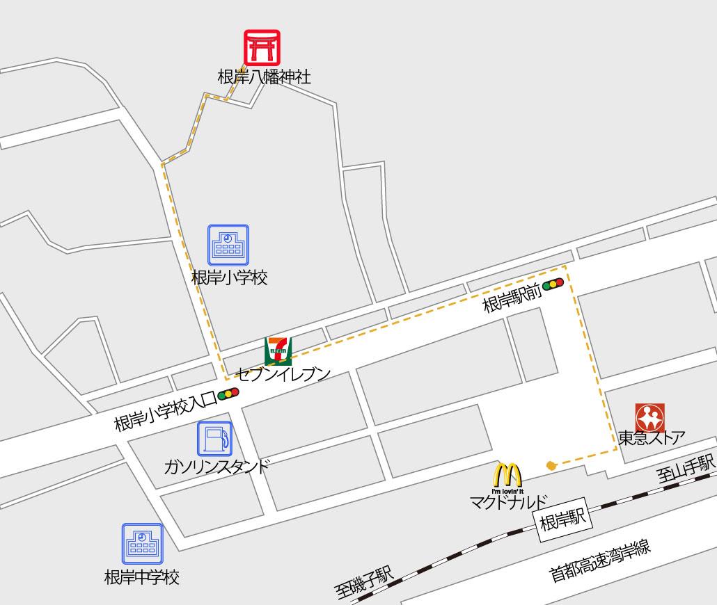 根岸八幡神社の地図